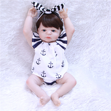 Non-toxic Reborn Baby Doll 55 cm Silicone Body Girl Lifelike 0-3month Newborn Childrens Day High end Toy new gift