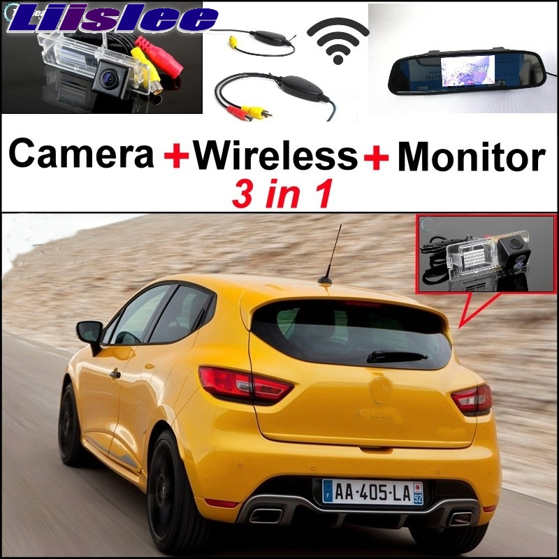 Liislee 3 in1 Special Rear View Camera + Wireless Receiver + Mirror Monitor Back Up Parking System For Renault Clio 3 4 liislee 3 in1 rear view special camera mirror monitor easy back up parking system for nissan nv200 evalia wireless receiver