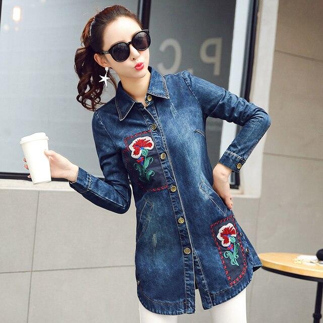 Spring Autumn Flowers Embroidered Denim Coat Women Blue Medium-long Slim Denim Jacket L132