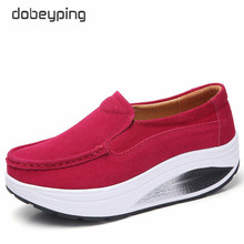 Dobeyping חדש אביב סתיו נעלי אישה להחליק על נשים עור האמיתית שטוח פלטפורמת נשים נעלי מוקסינים נשי נעל