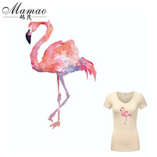 MAMAO dierenpatroon Pink Flamingo patch patches voor kleding Diy T-shirt Hoodies A-level thermische transfer sticker 32 * 21cm
