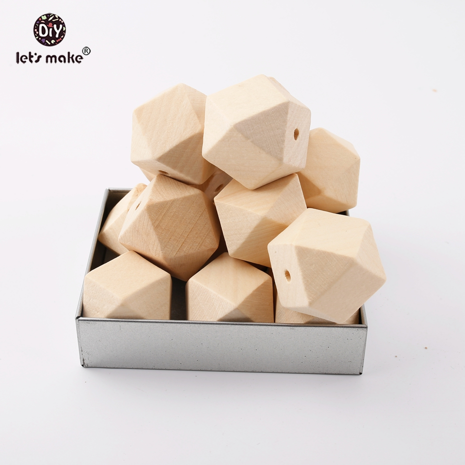 Let's Make 10PCS Wooden Hexagon Beads 16MM Food Grade Wood DIY Jewelry Baby Products Nurse Gifts Chew Teether Toys Baby Teething