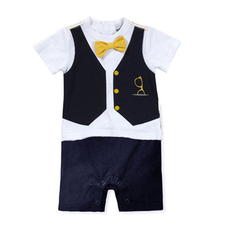 Summer Toddler Baby Boy Overalls Romper Formal Party Bow Tie Jumpsuit Outfit Suit Infant Clothes
