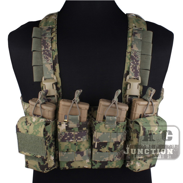 Emerson Tactical Combat Rapid Assault Chest Rig AOR2 Quick Release Duty Carrier Vest Harness with M4 M16 Mag Magazine Pouches emerson tactical navy jumpable plate carrier njpc emersongear lightweight combat vest with 5 56 223 triple magazine mag pouches