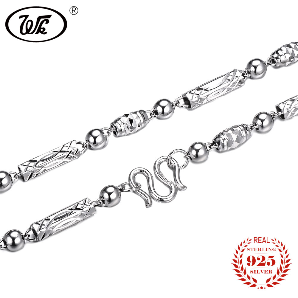 WK Men Chain Necklace Sterling Silver 925 Genuine Vintage Fashion Mens Necklaces Jewelry 18 20 Inch 4 5mm Wholesale OW NM007