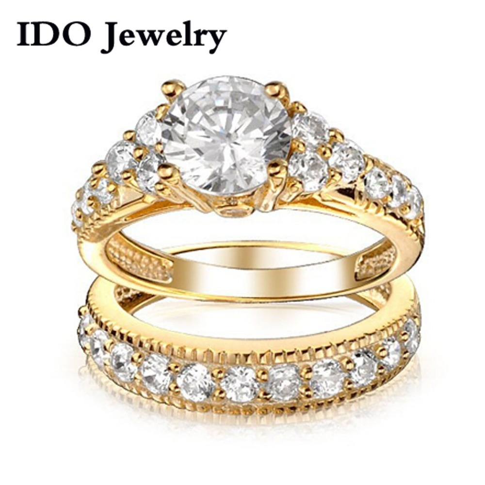 new fashion jewelry wholesale wedding ring set fashion yellow silver ring jewelry for women cz cz - Yellow Gold Wedding Ring Sets