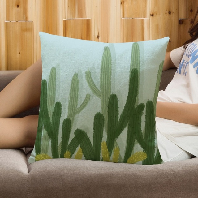SMAVIA Fashion Fresh Leafs Cactus Pillow Cover 100% Polyester  Printed Square Pillowcase Chair CouchThrows Pillow 45*45cm