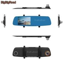 BigBigRoad For kia rio sportage ceed cerato k2 k3 Car DVR Blue Screen Rearview Mirror Video Recorder Car Dual Cameras Black Box