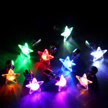 1 Pair 9 Colors LED Earring Light Up Bright Stud Earrings Star Glowing Ear Stud For DJ Dance Party Bar Girl Ear Stud Blinking 1