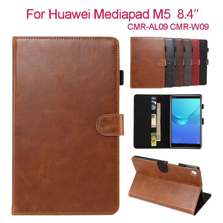 Media Pad M5 8.4'' PU Leather Case Cover Tablet Wallet Fundas Protective Stand Skin For Huawei MediaPad M5 8.4 SHT-AL09 SHT-W09 mediapad m3 lite 8 0 skin ultra slim cartoon stand pu leather case cover for huawei mediapad m3 lite 8 0 cpn w09 cpn al00 8