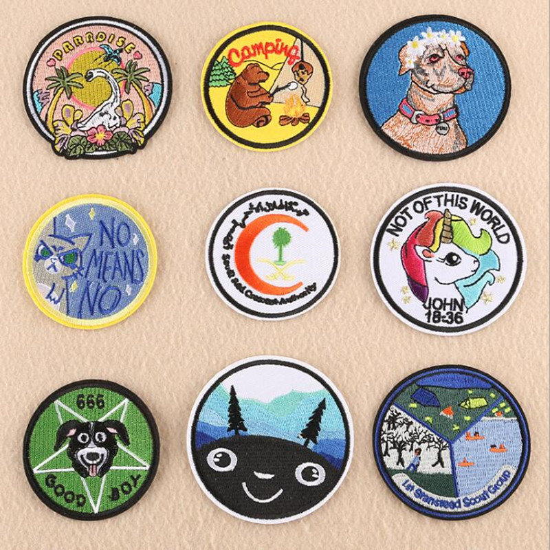 Circular Animal Head Badge Repair Patch Embroidered Iron On Patches For Clothing Close Shoes Bags Badges Embroidery DIY