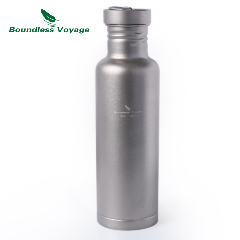 Boundless Voyage Titanium Water Bottle with Titanium Lid Outdoor Camping Cycling Hiking Tableware Drinkware 25.6oz/750ml keith pure titanium double wall water mugs with folding handles drinkware outdoor camping cups ultralight travel mug 450ml 600ml