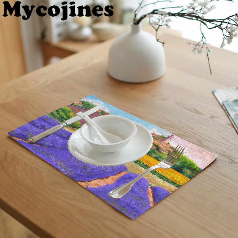 Estilo rústico Ethnic42x32cm mantel púrpura lavanda letras servilleta toalla mesa de té y café cocina decoración estera de tabla occidental