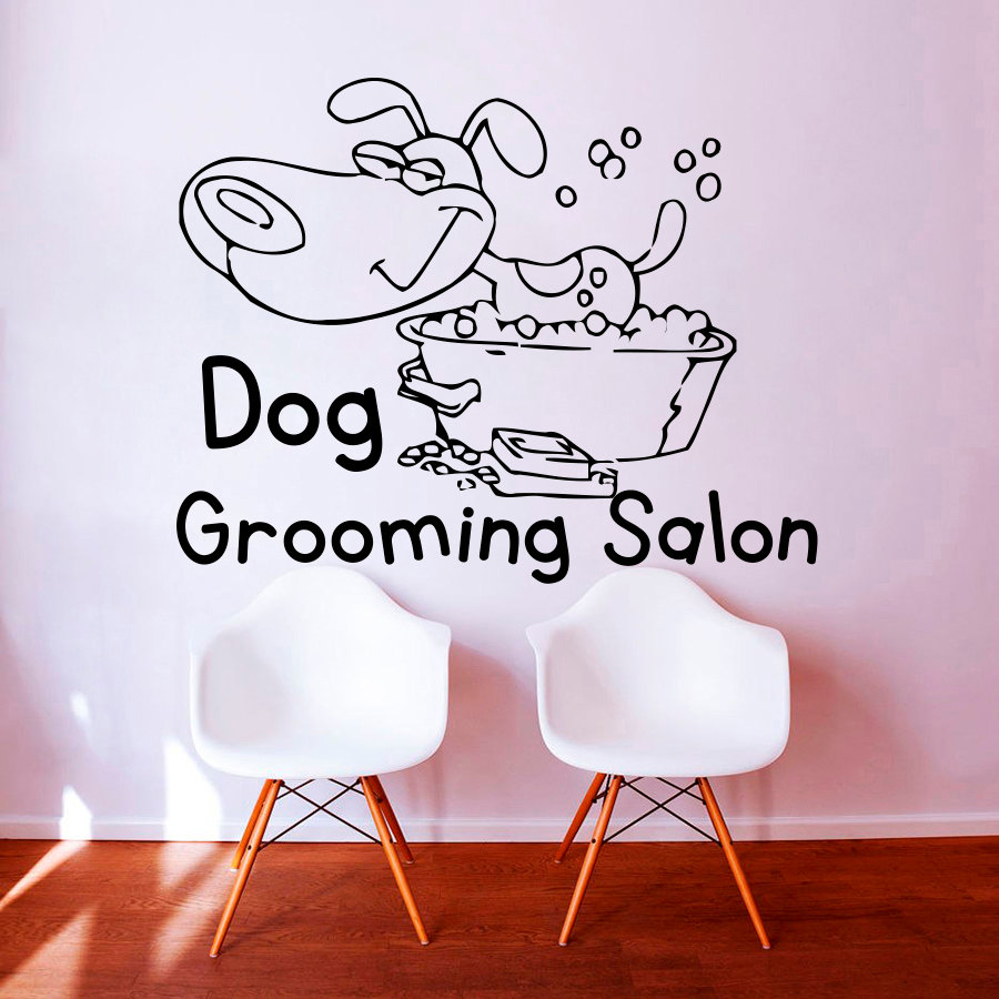 US $4.95 48% OFF ZOOYOO Dog Grooming Salon Pet Shop Wall Sticker PVC  Removable Home Decor Cute Puppy Take A Bath Wall Decals Kids Room  Decoration-in ...