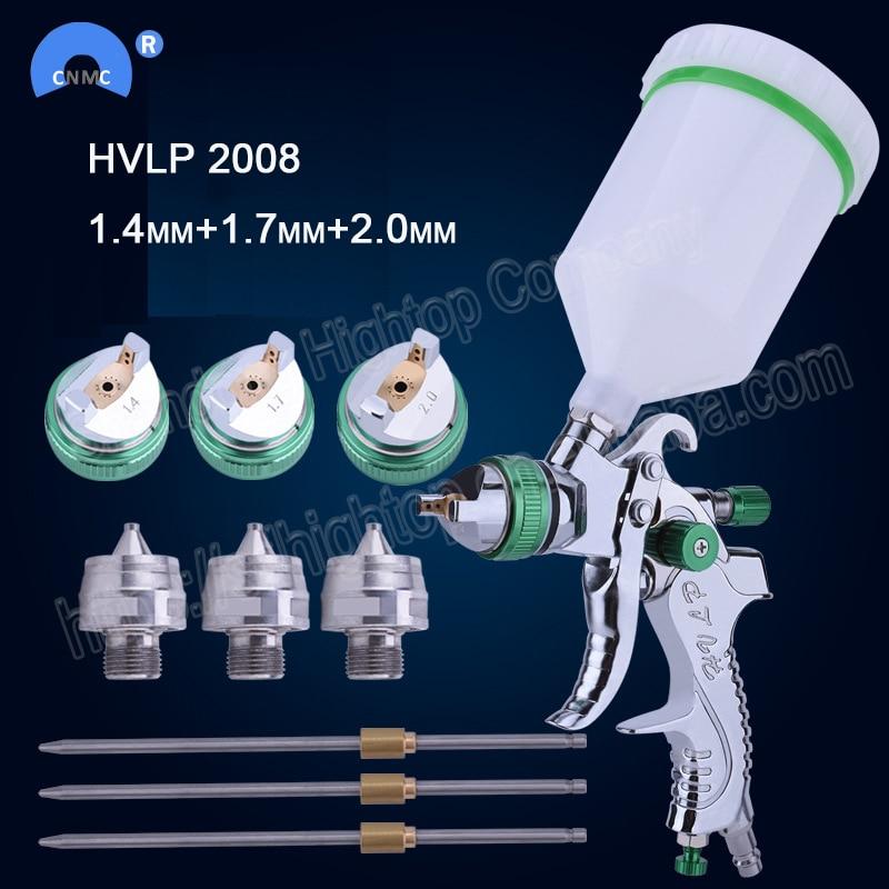 HVLP 2008 paint spray gun set gravity feed 1.4mm 1.7mm 2.0mm DIY auto Car face Paint spray gun-in Spray Guns from Tools