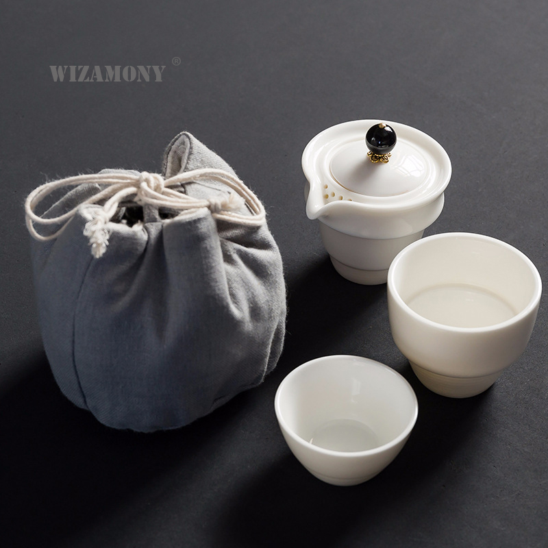 WIZAMONY Drinkware Kungfu Tea Set Tea Cup Pottery Ceramic Cup Filter Teapot for Travel Japanese Style Teaware Kettle Coffee
