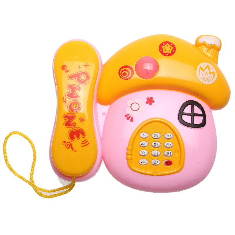 Baby Music Phone Toy Basics Chatter Telephone Toys Cute Mushrooms Baby Mobile Rattles Flashing Sound Toy Phone Random Color
