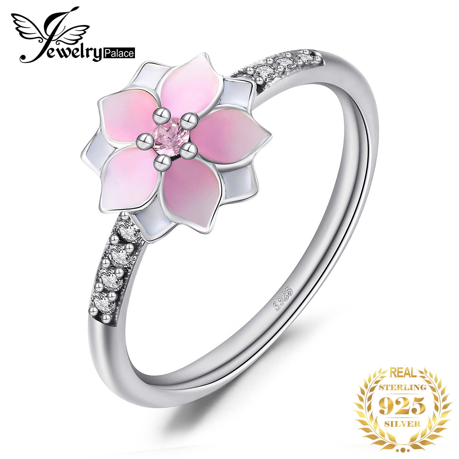 Jewelrypalace 925 Sterling Silver Magnolia Cubic Zirconia Gradient Pink Enamel Rings For Women Fashion Wedding Ring Girls