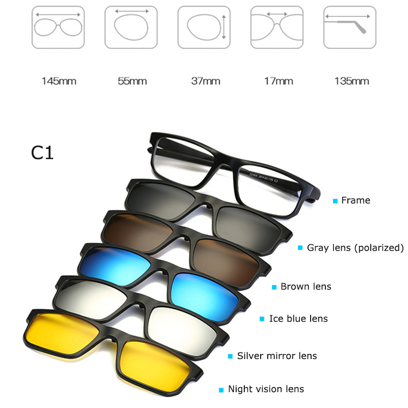Magnetic 5Pcs Polarized Clip-on Sunglasses Plastic Frame for Night ...