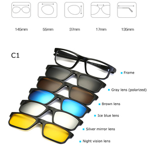Image 3 - Fashion Optical Spectacle Frame Men Women Myopia With 5 Clip On Sunglasses Polarized Magnetic Glasses For Male Eyeglasses RS219
