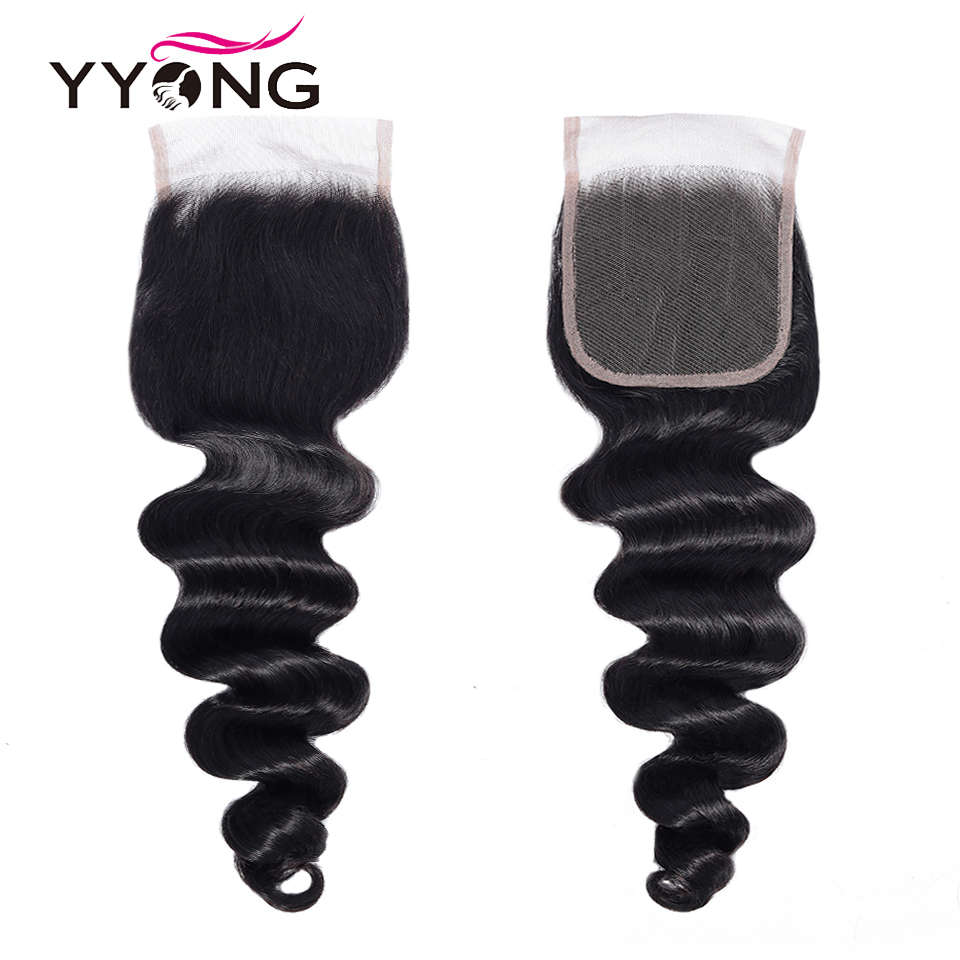 Yyong Hair Store 3 / 4 Bundles Loose Deep Bundles With Closure 100%   With Lace Closure Middle Ratio 5