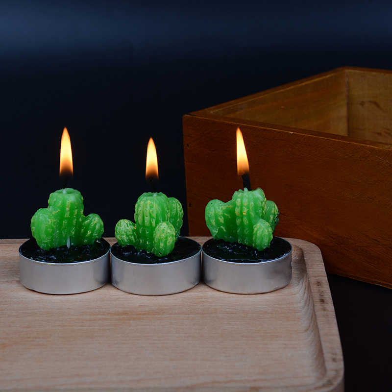 Creative Artificial Cactus Plants Candles Mini Tea Lights for Home Living Room Table Desk Decoration