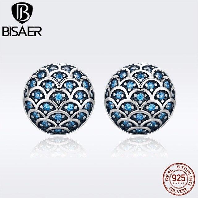 5f540224eba4 BISAER auténtica Plata de Ley 925 océano Dolphin amor exquisito pequeño  Stud pendientes para las mujeres pendientes de moda de joyería de GXE239