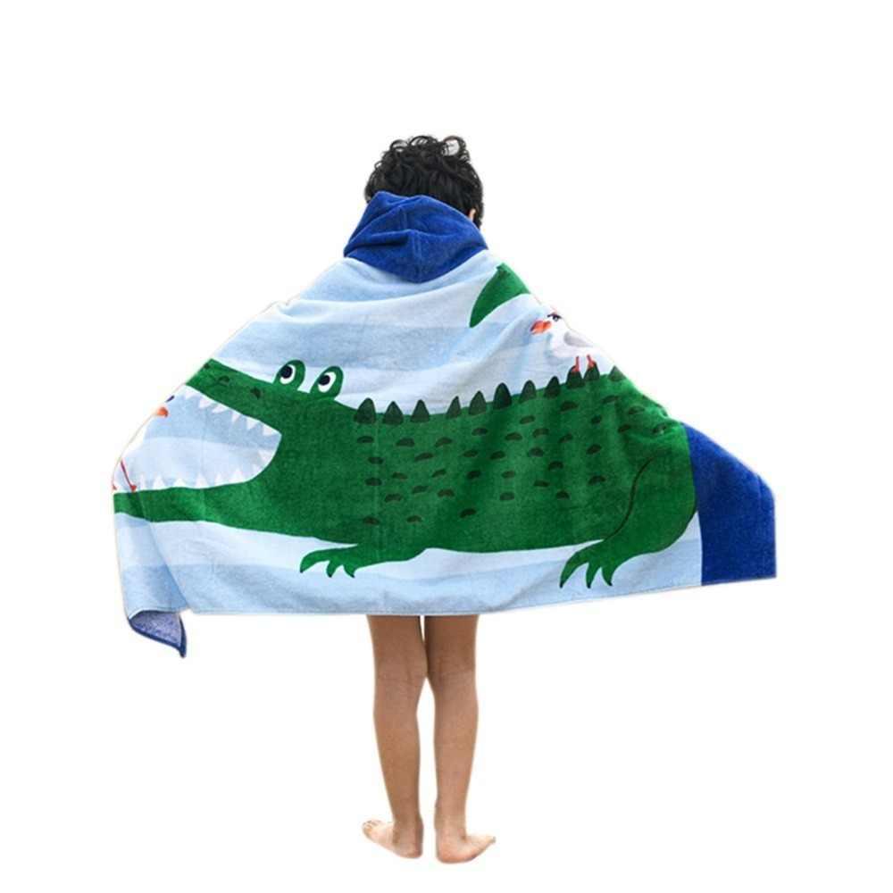Beach Towel Kids Children Hooded Poncho Dinosaur Swim Beach Bath Towel for  Girls/Boys 100% Cotton Printed Cartoon Fish Mermaid