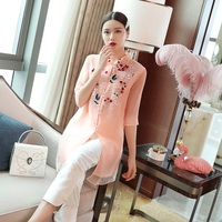 Top Quality Brand Chinese Blouse Shirts Women Turn down Collar Organza Embroidery 3/4 Sleeve Tunic Buttons Shirt White