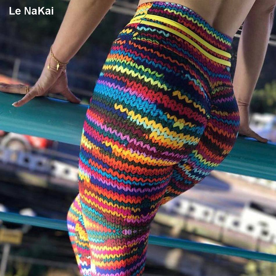 Le NaKai Knit Print sports leggings high waist strench gym tights colorful print workout running trousers fitness yoga pants