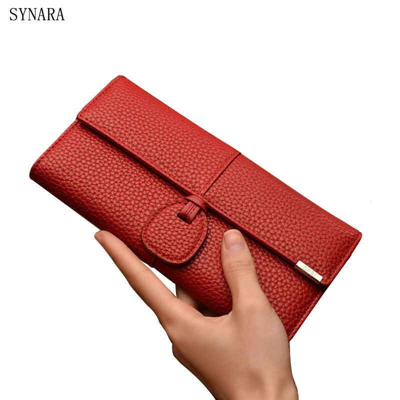 New 2017 SYNARA Brand Dollar Price Leather Purse For Women Wallet Fashion Litchi Grain Hasp Ladies Long Clutch Wallet Female dollar price new european and american ultra thin leather purse large zip clutch oil wax leather wallet portefeuille femme cuir