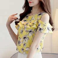 Cheap Clothes Cute Floral Chiffon Shirt 2019 Summer Blouse Women New Short Sleeve Chiffon Tops Ruffles Off Shoulder Woman Shirts