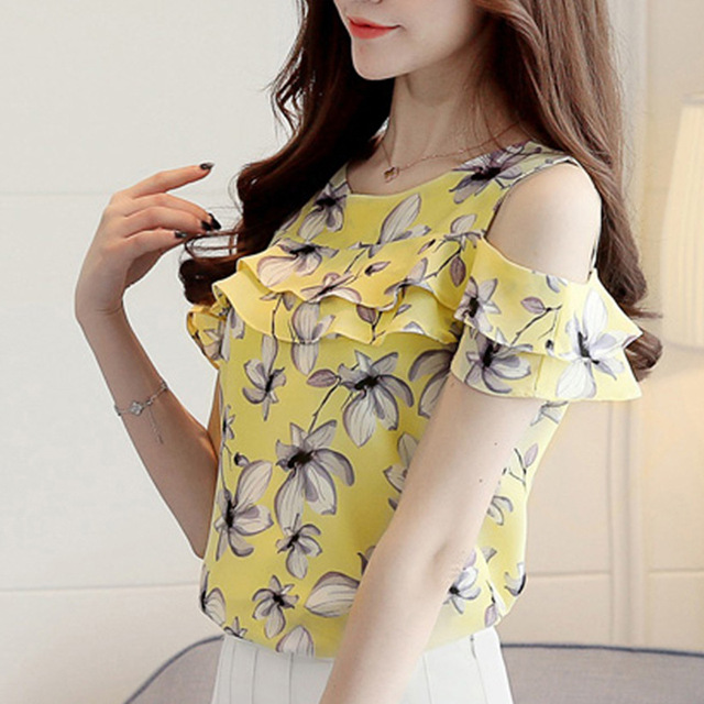 f53dbecb11ed89 Cheap Clothes Cute Floral Chiffon Shirt 2018 Summer Blouse Women New Short  Sleeve Chiffon Tops Ruffles Off Shoulder Woman Shirts