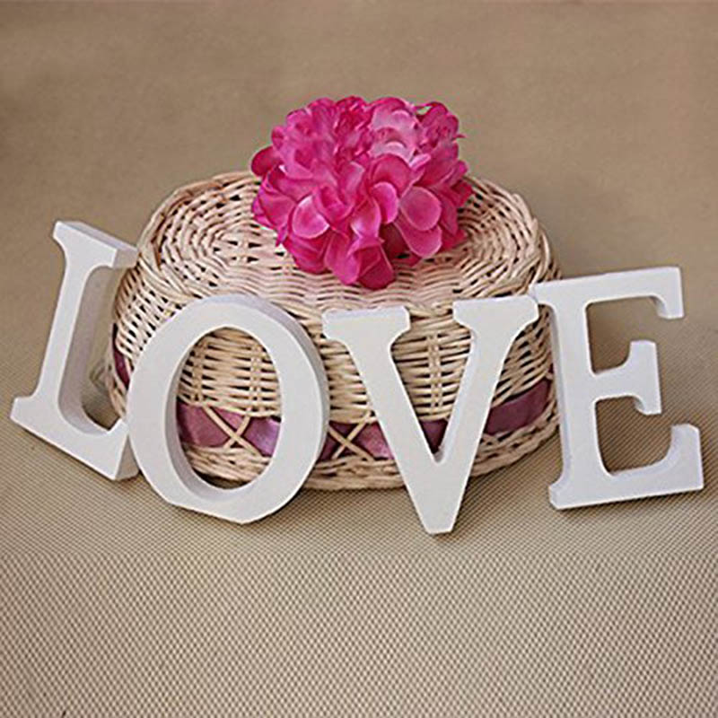 White Wooden Love Wedding Sign Love Letters Wooden Romantic Vintage