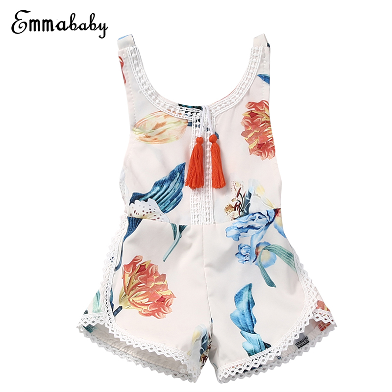 0-4Y Newborn Toddler Baby Girls Summer Clothes Sleeveless Backless Floral Tassel   Romper   Jumpsuit Outfits Sunsuit