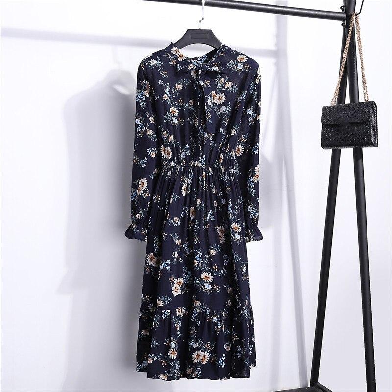 Summer Korean Chiffon Women Dress Elegant Ladies Vintage Long Dress Boho Floral Office Long Sleeve Vestidos Clothing 5LYQ003 14