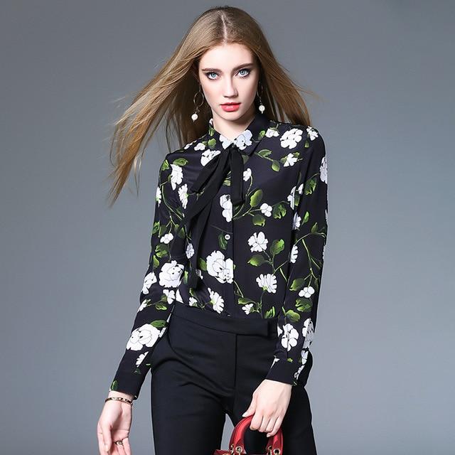 100% seda blusa mujeres camisa elegante impreso Encaje up