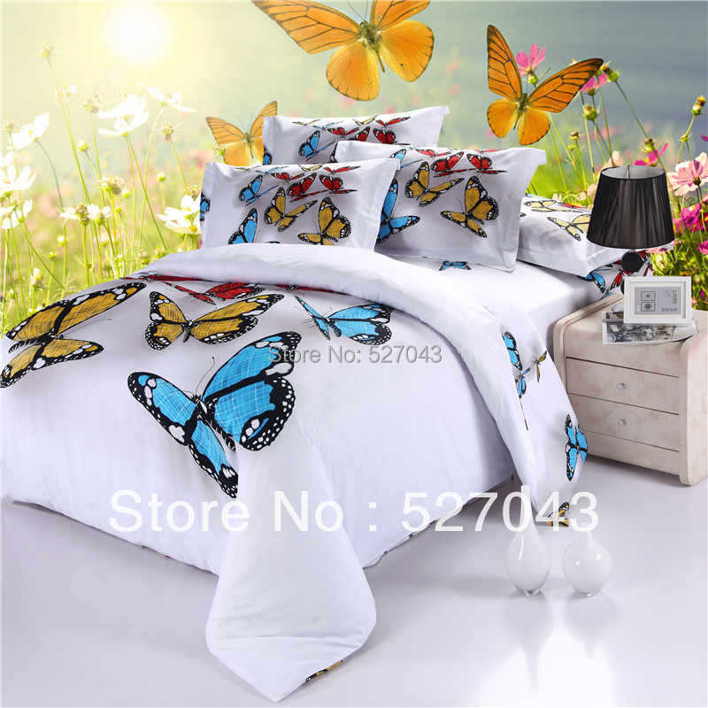 3d Butterfly Full Queen Size Oil Painting Bedding Set