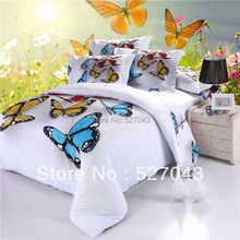 Mariposa 3D Completo Queen Size Pintura Al Óleo Juego de Cama Colchas Edredón Cubre la ropa de cama Para Adultos