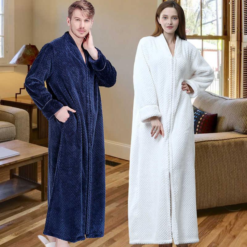 ... Women Extra Long Plus Size Thick Warm Sleepshirts Men Winter Coral  Fleece Zipper Nightgowns Pregnant Robe ... 0b109ba6d
