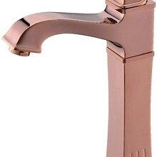Ванная комната Водопад в раковине кран одно отверстие на бортике розовое золото цвет смесителя кристалл