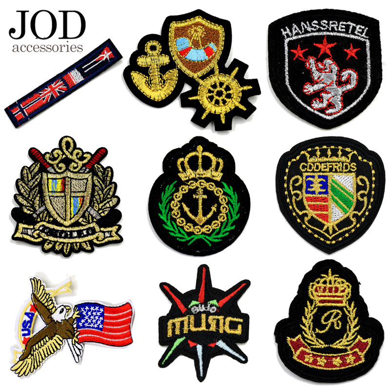 JOD Imperial Crown Thermo Adhesive Embroidered Patches Iron on Clothing Applications Team Badge Jersey  Stickers Logos Custume