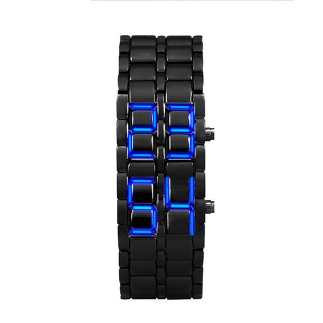 Lava Style Iron Samurai Black Bracelet LED Japanese Inspired digital Watch water