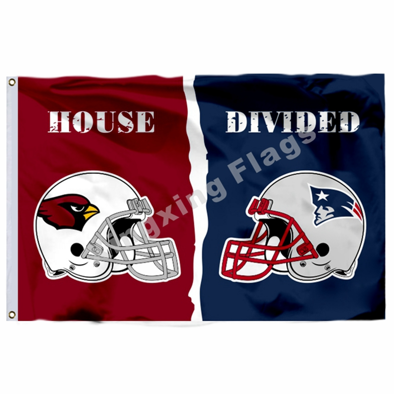 Arizona Cardinals New England Patriots Helmets House Divided Flag 3ft X 5ft Polyester NFL Banner Size No.4 144*96cm Cust
