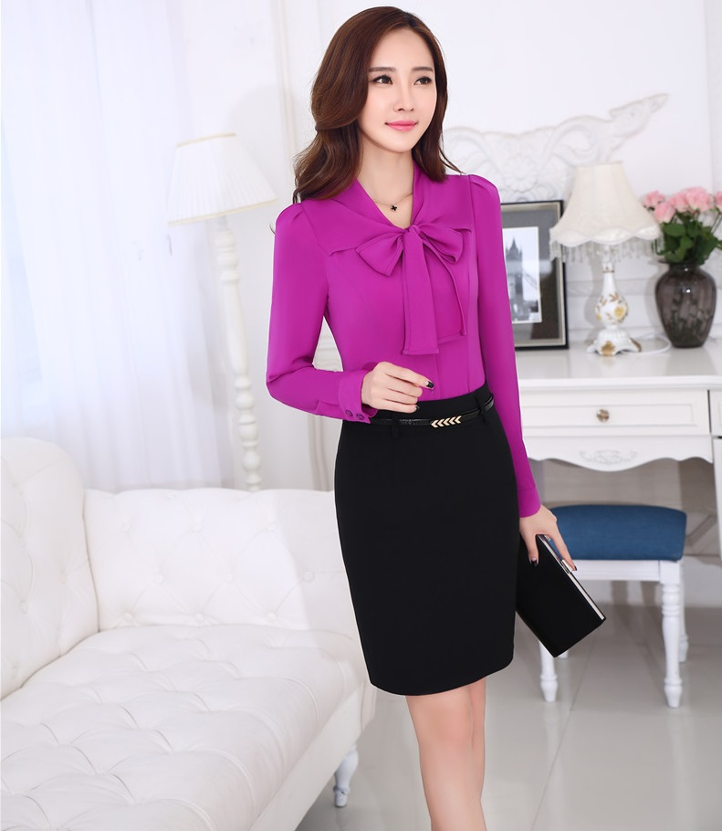 New 2015 Spring Fall Business Women Suits With Tops And Mini Skirt Ladies Office Shirts Tops Outfits Sets Career Work Wear