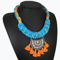 collares etnicos 2017colorful handmade woven statement necklace double cotton rope chain boho chic maxi necklace collier femme