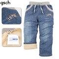 Chicos Vaqueros Niños Pantalones Gruesos de Invierno de Algodón Casual Niños Bebés Pantalones Vaqueros de Cintura Elástica Pantalones de Los Niños Pantalones de Mezclilla de Moda 3-7 Años