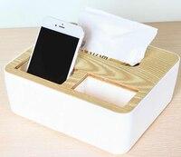 Creatieve Tissue Box Drie Raster Servet Storage Case Organisatoren voor Kantoor Auto Eiken Vierkante Tissue Dozen