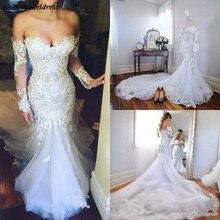 Vintage Mermaid Long Sleeves Wedding Dresses Lace Appliques Unique Design Church Bridal Gowns vestidos de novia 2019