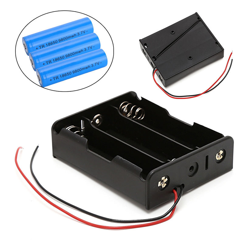 OOTDTY 5 Pcs <font><b>3x18650</b></font> 3.7V Rechargeable Battery Clip Holder Box Case With Wire Lead image